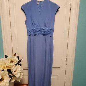 Maggie london light blue long fitted dress conserv